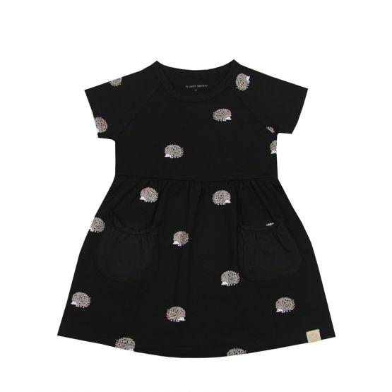 Girls Dress in Hedgehog Print