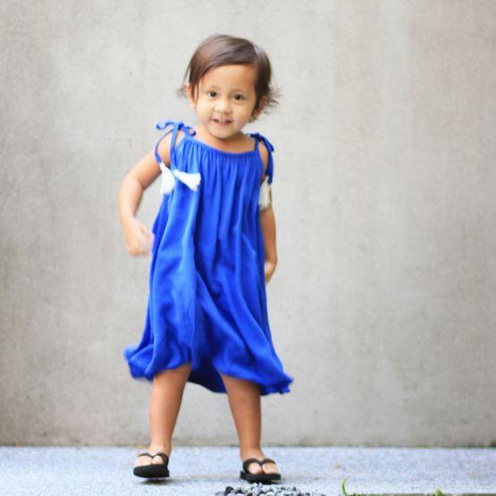 Cobalt Blue Girls Dress with Tassels