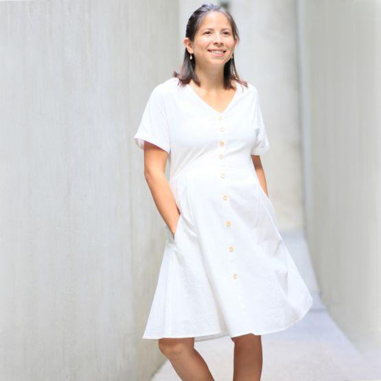 Linen White Ladies Button-Down Dress