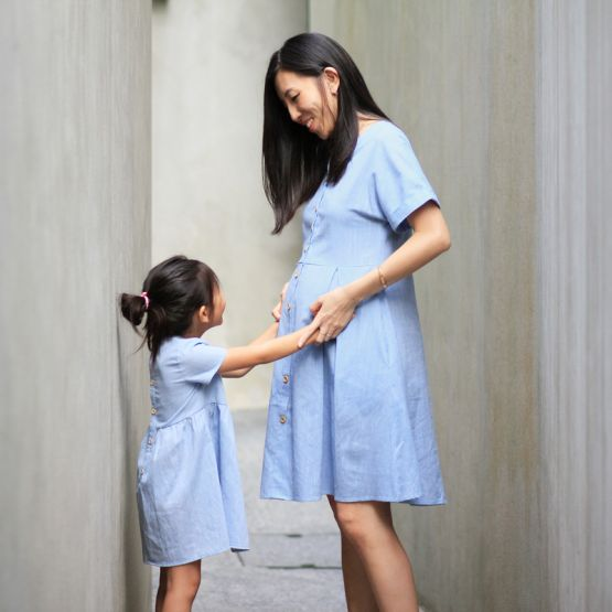 Ladies Button-Down Dress in Chambray