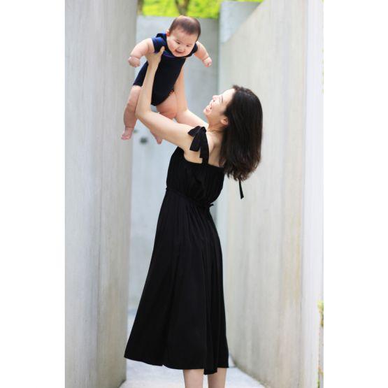 Tie-Strap Black Ladies Swing Maxi Dress