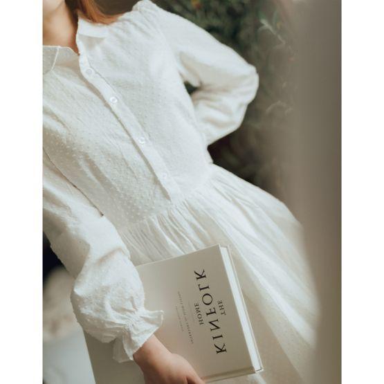 *New* Resort Series - Ladies Shirt Dress in White Swiss Dot Cotton