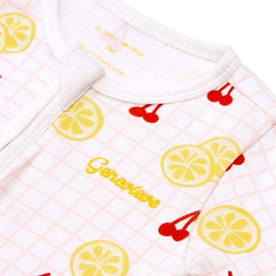 *New* Personalisable Baby Organic Romper in Lemon & Cherry Print