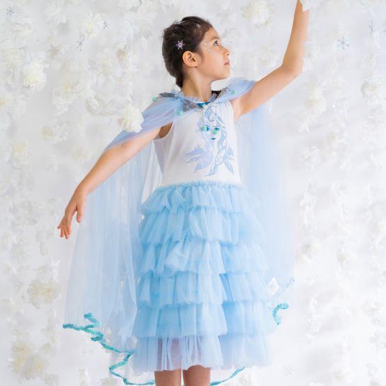 *Disney Frozen 2* Elsa Tiered Tulle Dress in Winter Blue