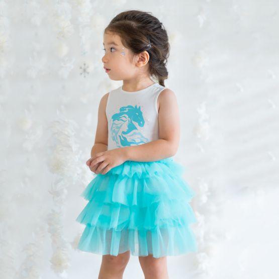 *Disney Frozen 2* Elsa Tiered Tulle Dress in Turquoise