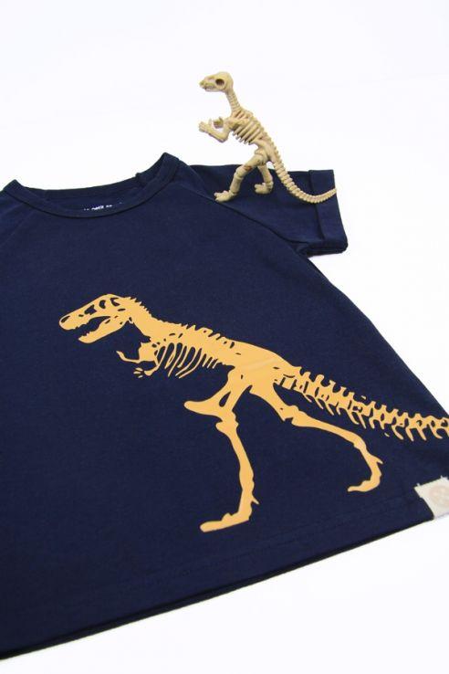Dino T-Rex Skeleton Navy Raglan Tee