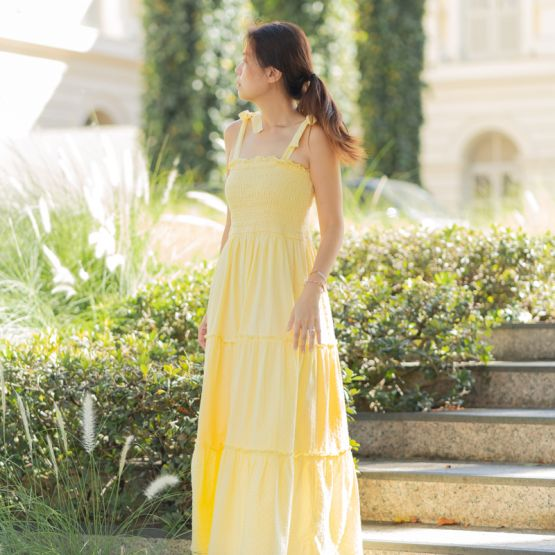 *New* Resort Series - Ladies Maxi Dress in Yellow Swiss Dot Cotton