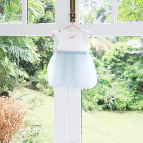 Flower Girl Series - Baby Bubble Dress in Soft Blue