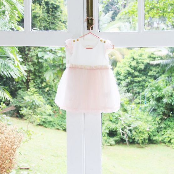 Flower Girl Series - Baby Bubble Dress in Soft Pink