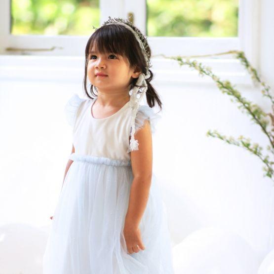 Flower Girl Series - Bubble Dress in Soft Blue Glitter