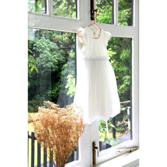 Flower Girl Series - Bubble Dress in White Glitter