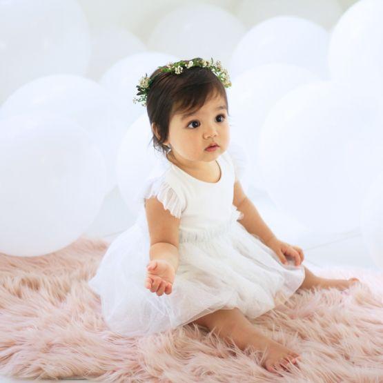 Flower Girl Series - Baby Bubble Dress in White