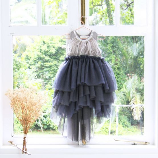 Flower Girl Series - Cascading Dress in Grey