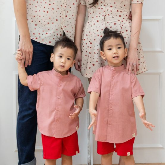 Floral Series - Personalisable Boys Shirt in Dusty Red