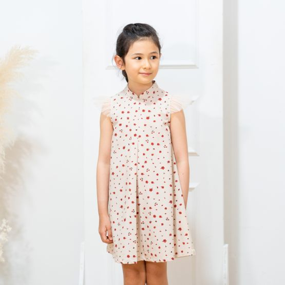 Floral Series - Girls Dress with Tulle Sleeves