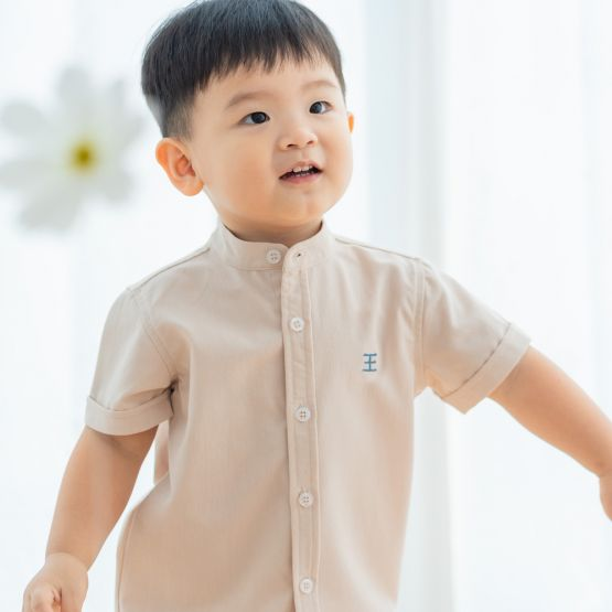 Floral Series - Personalisable Boys Shirt in Beige