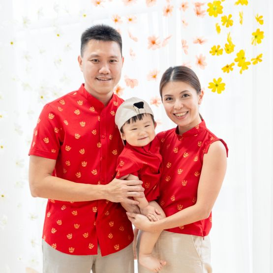 Lion Dance Series - Ladies Red Crop Top with Foil Print