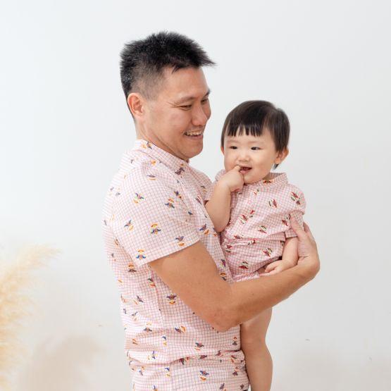 Lion Dance Series - Men's Jersey Shirt with Pink Grid Print