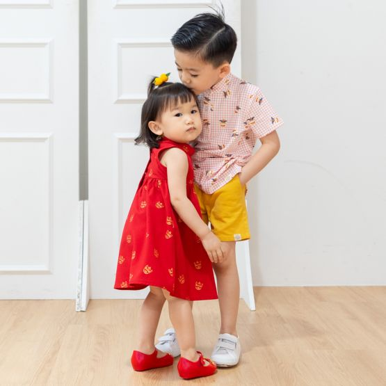 Lion Dance Series - Baby Girl Red Dress with Foil Print