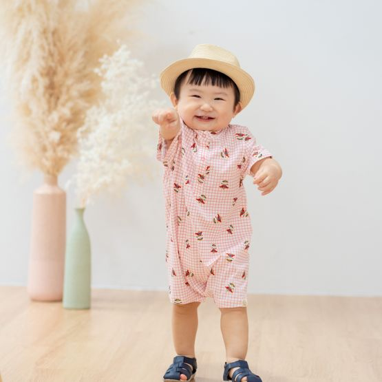 Lion Dance Series - Baby Boy Jersey Shirt Romper with Pink Grid Print