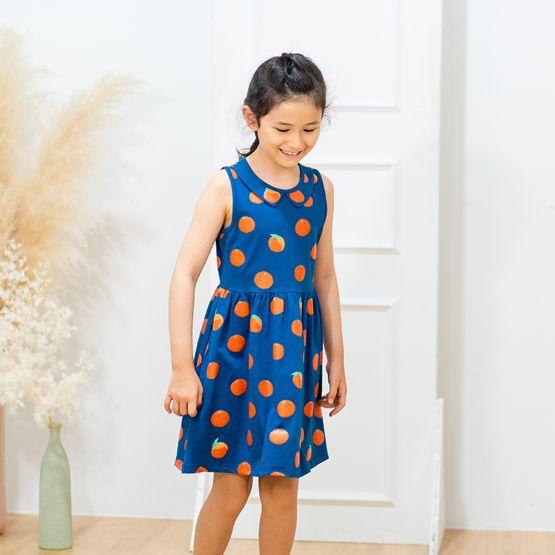 Mandarin Orange Series - Girls Jersey Dress in Blue
