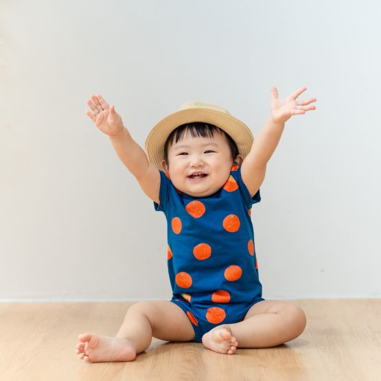 Mandarin Orange Series - Baby Jersey Romper in Blue