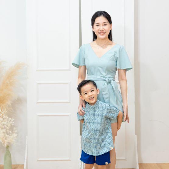 Chinese Motif Series - Ladies Romper in Light Blue