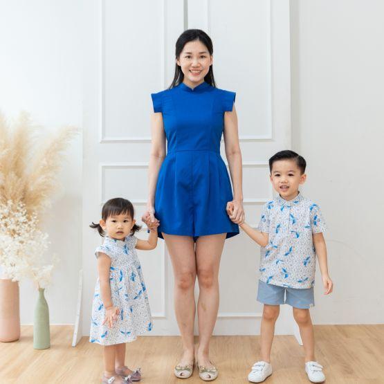 Chinese Motif Series - Ladies Romper in Royal Blue