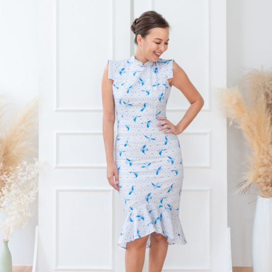 Chinese Motif Series - Ladies Blue Fitted Dress with Sparrow Print
