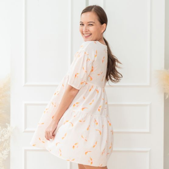 Chinese Motif Series - Ladies White Baby Doll Dress with Sparrow Print