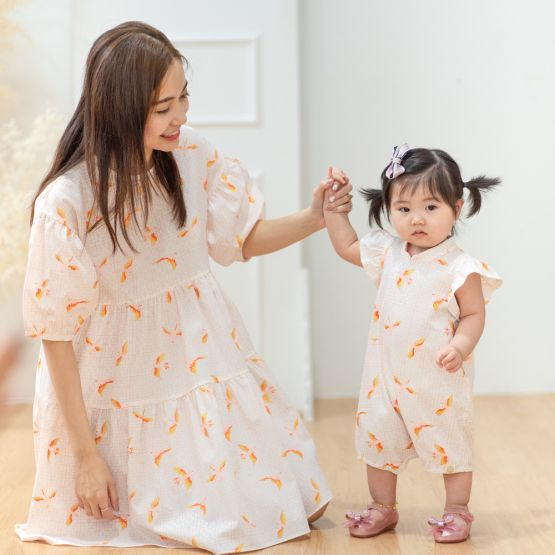 Chinese Motif Series - Baby Girl White Jersey Romper with Sparrow Print