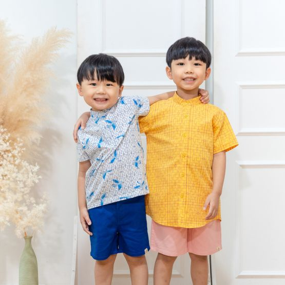 Chinese Motif Series - Boys Shirt in Yellow