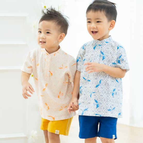 Chinese Motif Series - Boys White Jersey Shirt with Sparrow Print