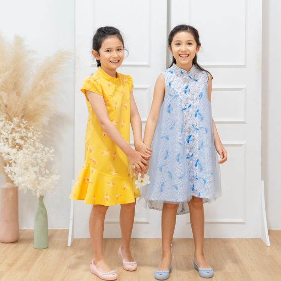 Chinese Motif Series - Girls Blue High-Low Dress with Sparrow Print