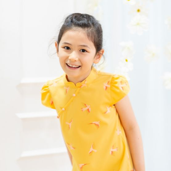 Chinese Motif Series - Girls Yellow Dress with Sparrow Print