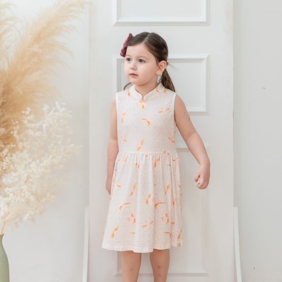 Chinese Motif Series - Girls White Jersey Dress with Sparrow Print
