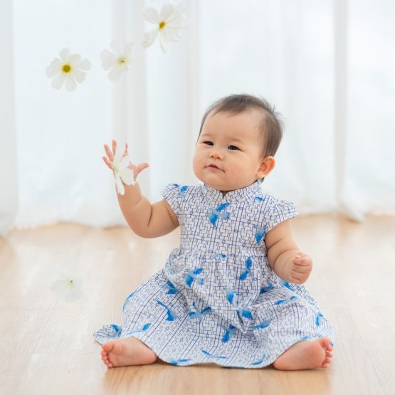 Chinese Motif Series - Baby Girl Blue Jersey Dress with Sparrow Print