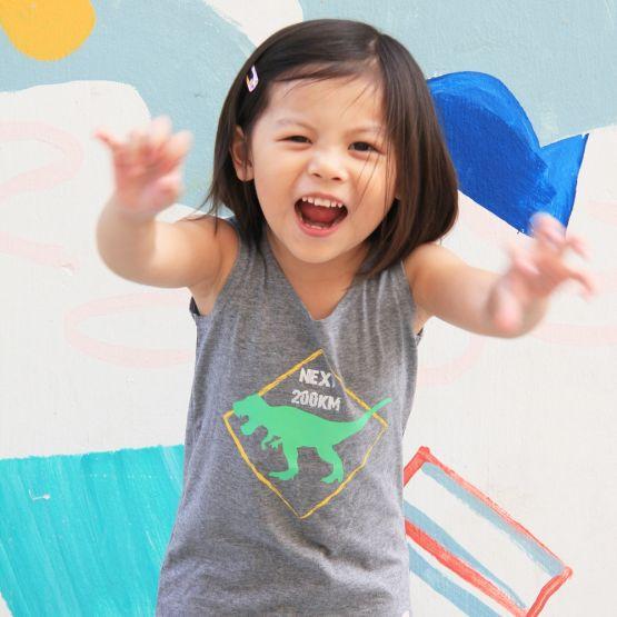Kid Wearing Dinosaur T-Rex Print Grey Tank