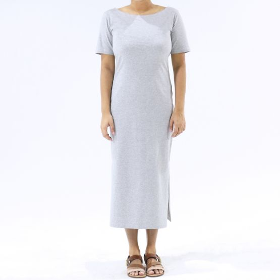 Jersey Boat Neck Melange Grey Ladies Midi Dress