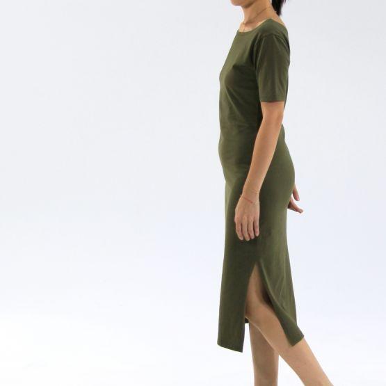 Jersey Boat Neck Olive Green Ladies Midi Dress