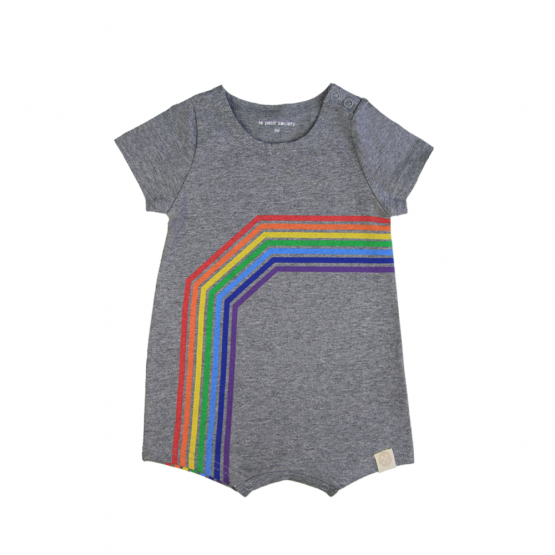 Personalisable Baby Rainbow Romper in Melange Grey - Left Arc
