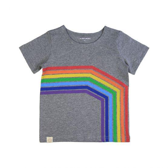 Personalisable Kids Rainbow Tee in Melange Grey - Right Arc