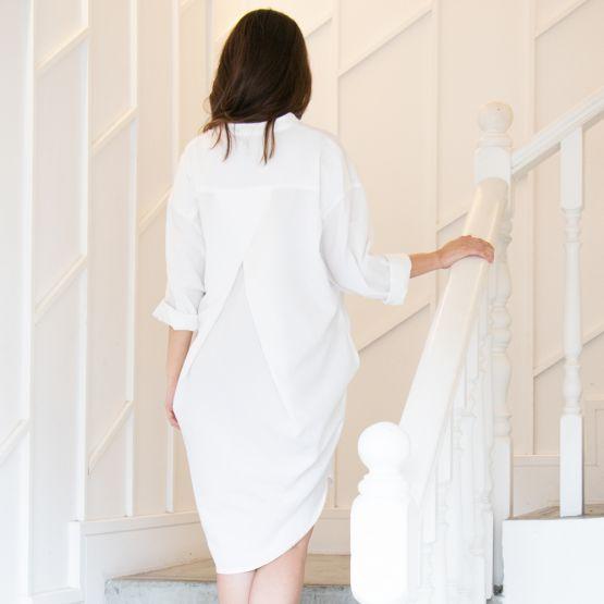 Long Sleeves White Ladies Shirt Dress