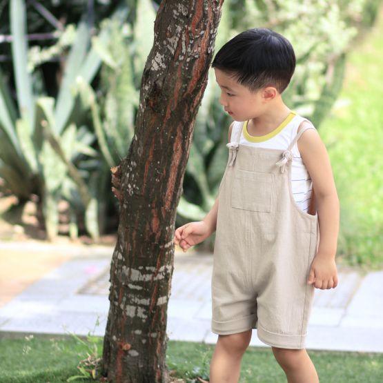 Tie-Strap Sand Beige Kids Short Overalls