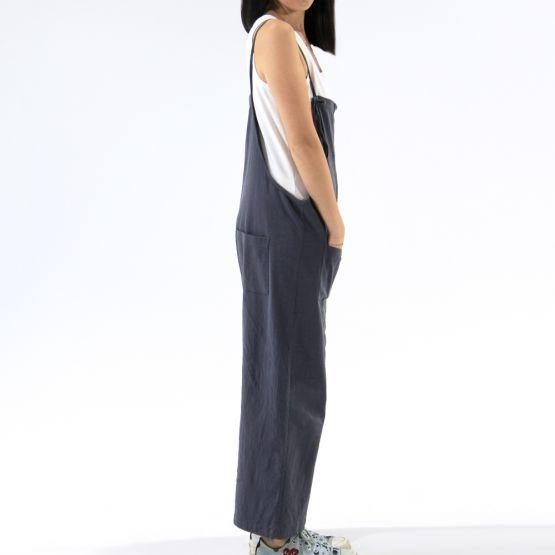 Tie-Strap Slate Grey Ladies Long Overalls