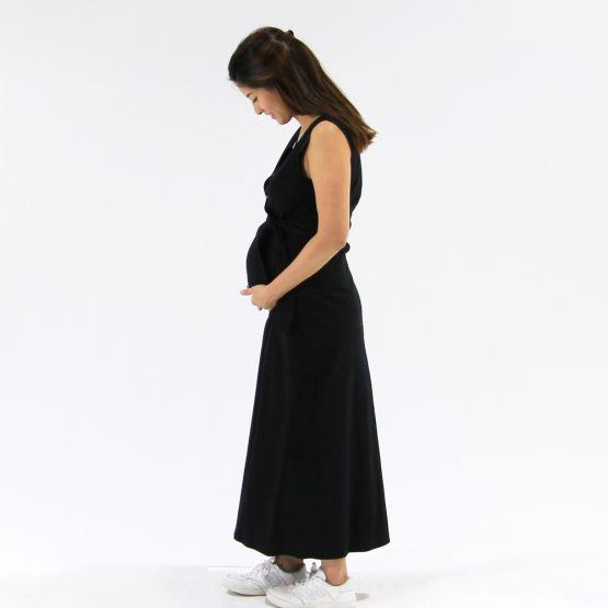 Woven Jet Black Ladies Wrap Dress