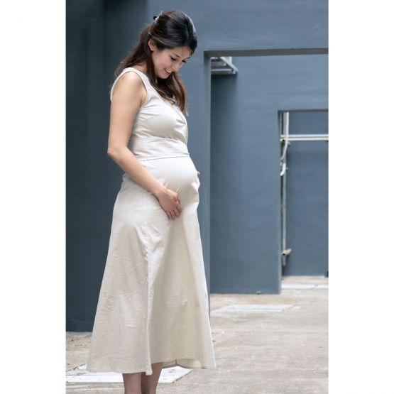 Woven Latte Beige Ladies Wrap Dress