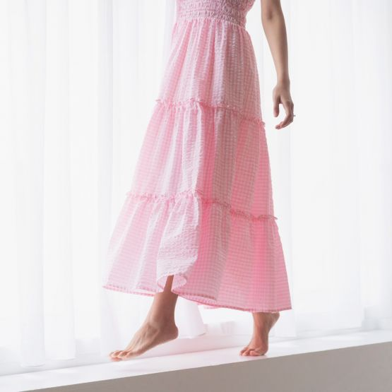 *New* Ladies Maxi Dress in Pink Gingham