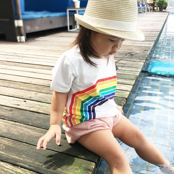 Personalisable Kids Rainbow Tee in White - Left Arc