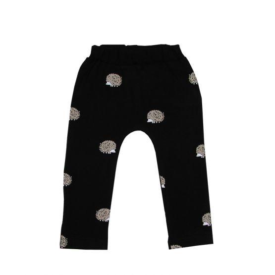 Baby Black Leggings in Hedgehog Print